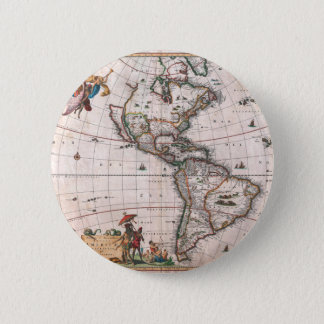 The Visscher map of the New World 2 Inch Round Button