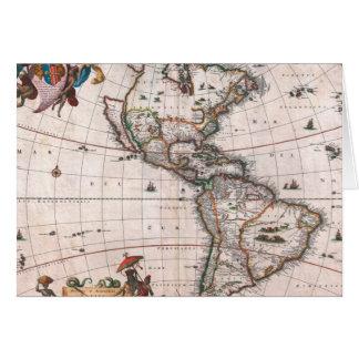 The Visscher map of the New World Card