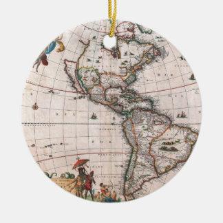 The Visscher map of the New World Ceramic Ornament
