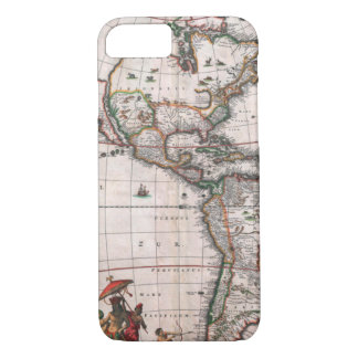 The Visscher map of the New World iPhone 8/7 Case