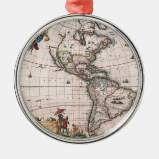 The Visscher map of the New World Metal Ornament