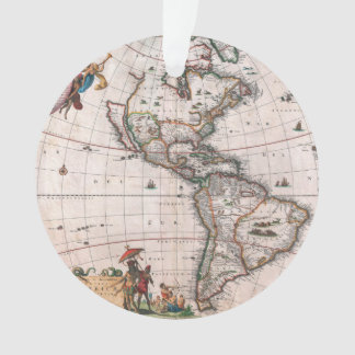 The Visscher map of the New World Ornament