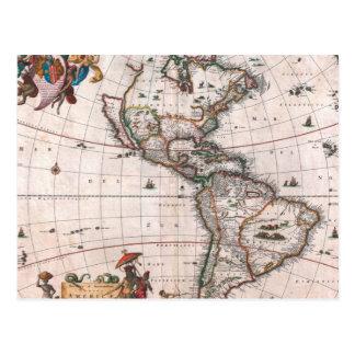 The Visscher map of the New World Postcard