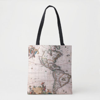 The Visscher map of the New World Tote Bag