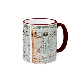 THE VITRUVIAN MAN  Antique  Parchment Mugs