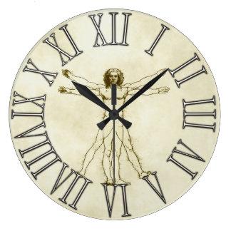 The Vitruvian Man by Leonardo da Vinci Large Clock