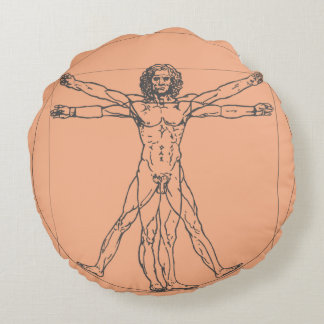 The Vitruvian Man Round Cotton Pillow