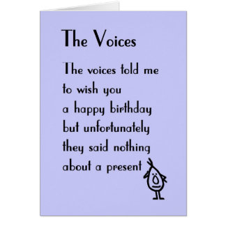 The Voices - a birthday poem Card