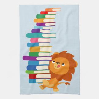 The Voracious Reader (Cute Cartoon Lion) Hand Towel