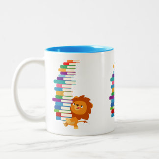 The Voracious Reader (Cute Cartoon Lion) Two-Tone Coffee Mug