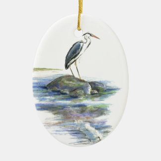 The Wait - Great Blue Heron Ceramic Ornament