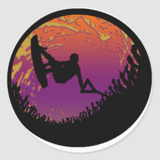 THE WAKEBOARD SCARECROW CLASSIC ROUND STICKER