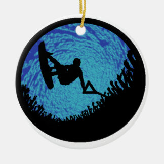 THE WAKEBOARDING ONE ROUND CERAMIC ORNAMENT