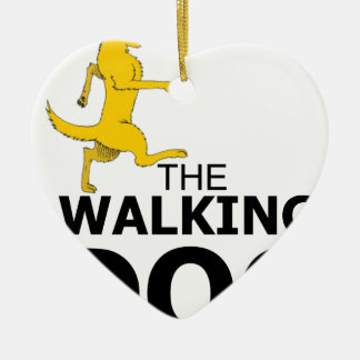 The walking dog ceramic heart ornament