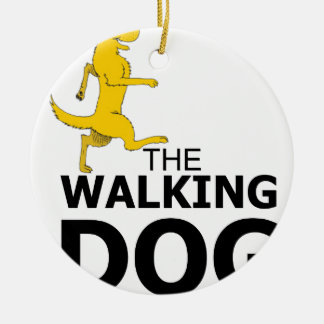 The walking dog round ceramic ornament