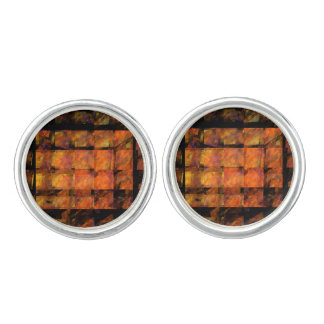 The Wall Abstract Art Silver Plated Cufflinks