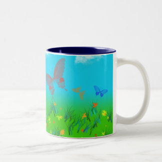 The waltz of the butterflies Two-Tone coffee mug