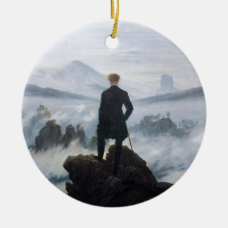 The wanderer above the sea of fog by Caspar David Round Ceramic Ornament