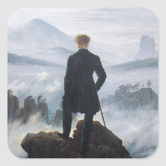 The wanderer above the sea of fog by Caspar David Square Sticker