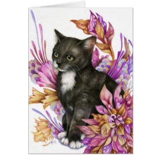 The Wanderer - Cute Tuxedo Cat Art Card