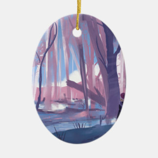 The Wandering Wanderer Ceramic Oval Ornament