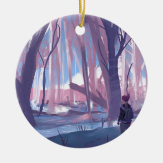 The Wandering Wanderer Round Ceramic Ornament