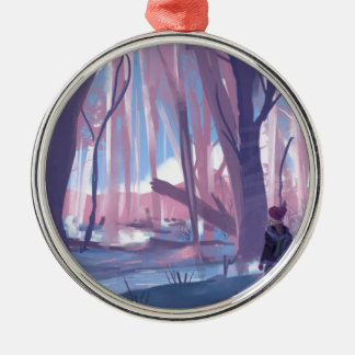 The Wandering Wanderer Silver-Colored Round Ornament