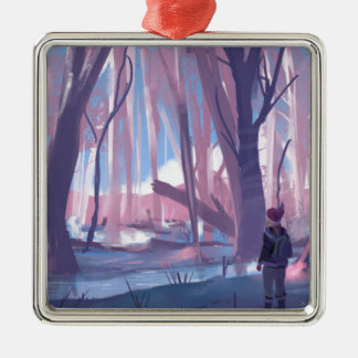 The Wandering Wanderer Silver-Colored Square Ornament