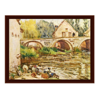 The Washerwomen Of Moret By Sisley Alfred Postcard
