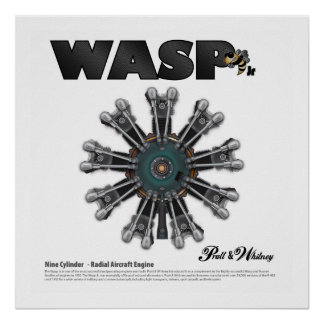 "The ""Wasp Jr."" Radial Engine Art Poster"