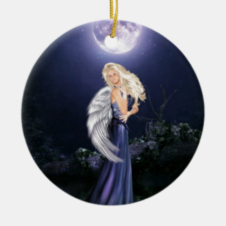 The Water Angel Round Ceramic Ornament