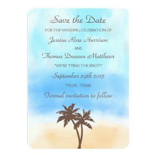 "The Watercolor Beach Wedding Collection 4.5"" X 6.25"" Invitation Card"