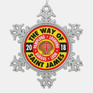 The Way of Saint James 2018 Snowflake Pewter Christmas Ornament