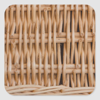 the weave of a hamper  a on square glossy stickers