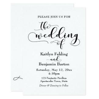 """The Wedding Of"" Black Typography, Simple, Elegant Card"