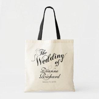 the wedding of... (custom names) black tote bag