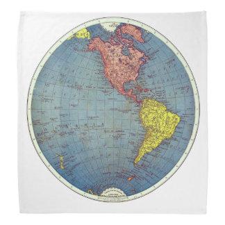 The Western Hemisphere Vintage Map Bandanna