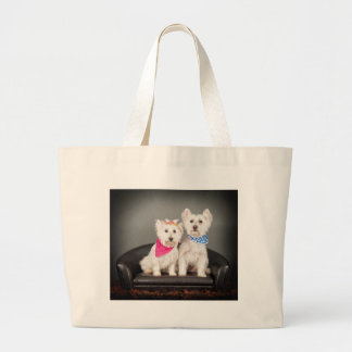 The Westie couple Large Tote Bag