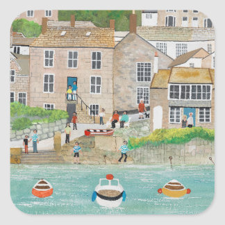 The Wharf at Mousehole Square Sticker
