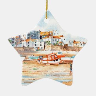 The Wharf St. Ives, Corwall Ceramic Star Ornament