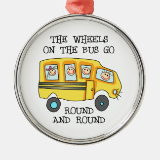 THE WHEELS ON THE BUS Silver-Colored ROUND ORNAMENT