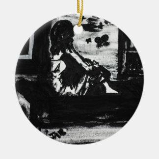 The whisper of freedom round ceramic ornament