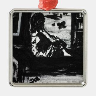 The whisper of freedom Silver-Colored square ornament