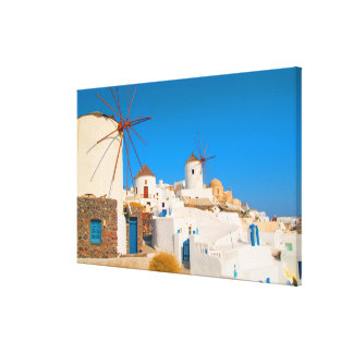 The white buildings and the windmills on the canvas print