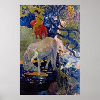 The White Horse by Eugène Henri Paul Gauguin Poster