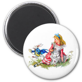 THE WHITE RABBIT DASHES BY ALICE 2 INCH ROUND MAGNET