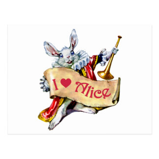 THE WHITE RABBIT DECLARES HIS LOVE FOR ALICE POSTCARD