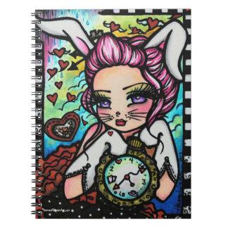 The White Rabbit Wonderland Heart Girl Fantasy Notebook