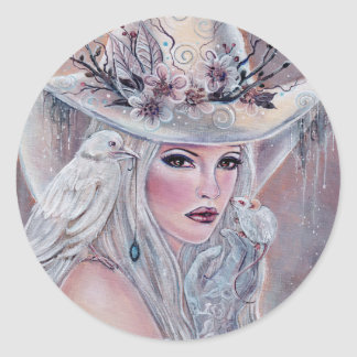 The white witch with raven sticker by Renee Lavoie