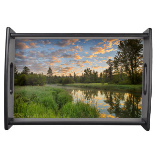 The Whitefish River with nice sunrise clouds Food Tray
